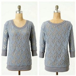 Anthropologie brushed lace pullover